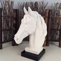 The Abstract Sculpture Figurine Ornaments White Sand Horse Head Office Home Decoration Accessories Art Resin Decoration Craft