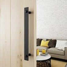 15.75 inch Heavy Duty Steel Rustic Black  One-Side Flat Bar Barn Door Pull Handles