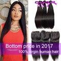 7a brasileño de la virgen del pelo con lace closure pelo brasileño recto con cierre de 3/4 paquetes del pelo humano teje con cierre de la venta