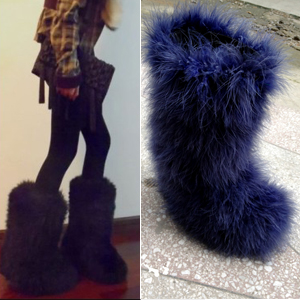 Winter Luxury Ostrich Feathers Eskimo Fur Boots Plush Snow
