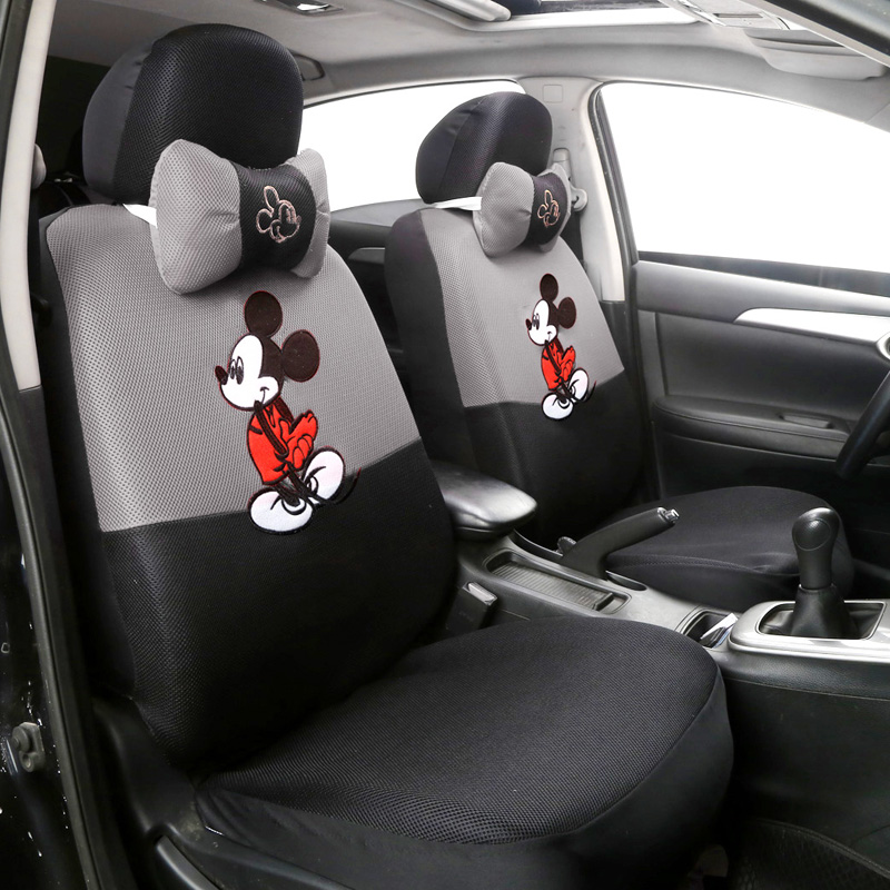 12pcs Cute Cartoon Universal Car Seat Cover Mickey Seat Covers Interior Accessories Sandwich Fabric Car Seat Protector autoyouth sports car seat covers universal fit most brand vehicle seats car seat protector interior accessories black seat cover