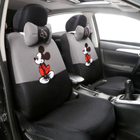 12pcs Cute Cartoon Universal Car Seat Cover Mickey Seat Covers Interior Accessories Sandwich Fabric Car Seat Protector