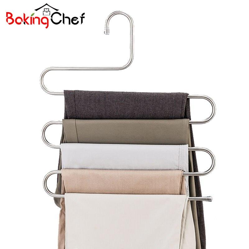 BAKINGCHEF Multi-funzione 5 Strati Pantaloni Hanger Rack Pantaloni Abbigliamento Organizzatore di Stoccaggio A Casa Roba Accessori Forniture Ingranaggi