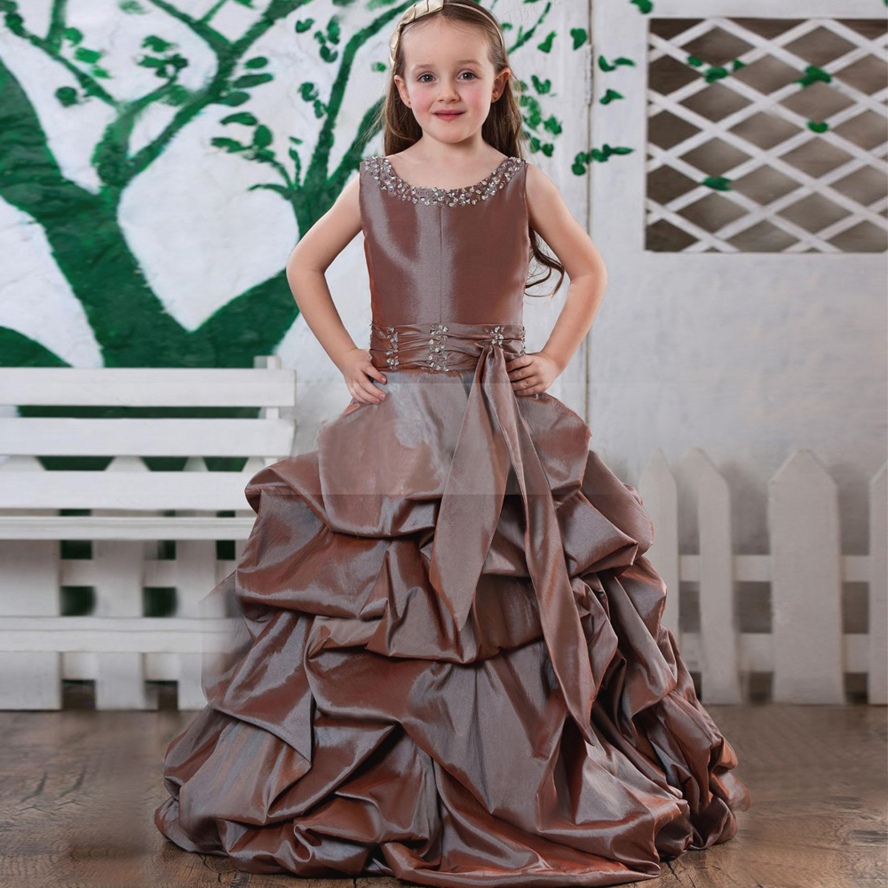 ФОТО beautiful cute v-neck beading long chocolate color ball gown little girl wedding pageant dress/kids girls chocolate beading gown