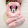 Carton Minnie Mouse Imprimir Manga Comprida Tops T-shirt + Calças 2 Pcs Roupas Definir conjuntos de bebê 2 pcs
