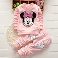 Carton Minnie Mouse Print Long Sleeve Tops T-shirt+Pants 2Pcs Outfits Set baby sets 2pcs