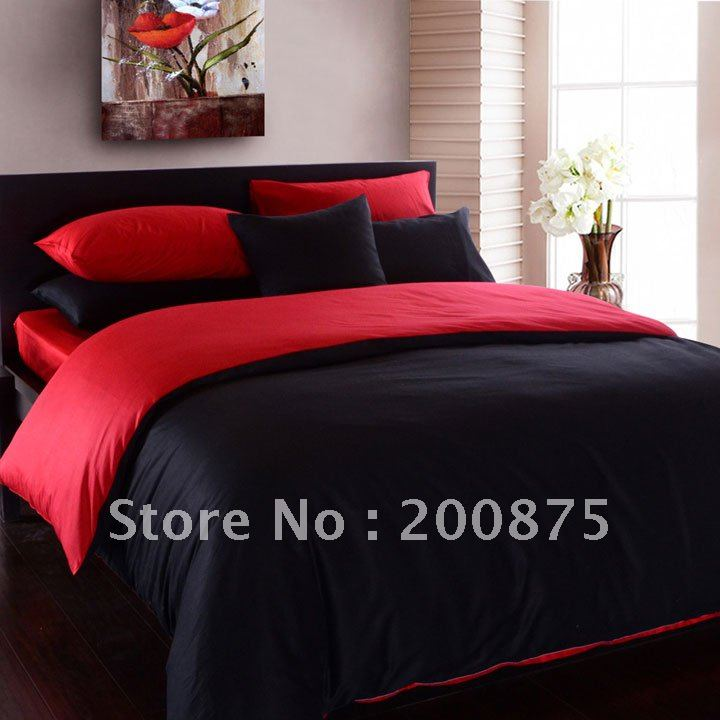 Free Shipping Wholesale 40s 100 Sateen Cotton Hot Black Red Color
