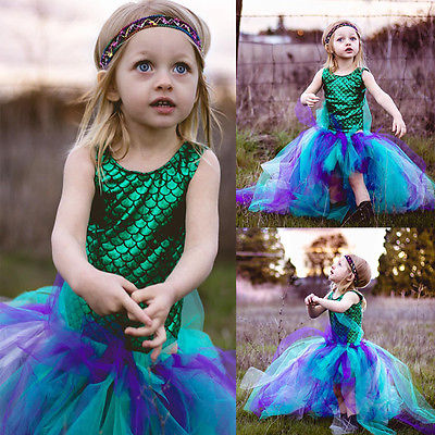 Princess Kid Baby Girl Dress Mermaid Bodysuit+Hademade 2pcs Outfits Set kids dresses for girls 2017 New Fashion himipopo 2 pcs baby girls bodysuit dress