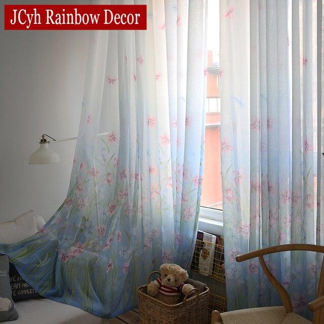 pastoralen blau gardinen und tll fr wohnzimmer moderne kinder vorhang fr kinder schlafzimmer fenster voile vorhnge - Vorhang Schlafzimmer Blau