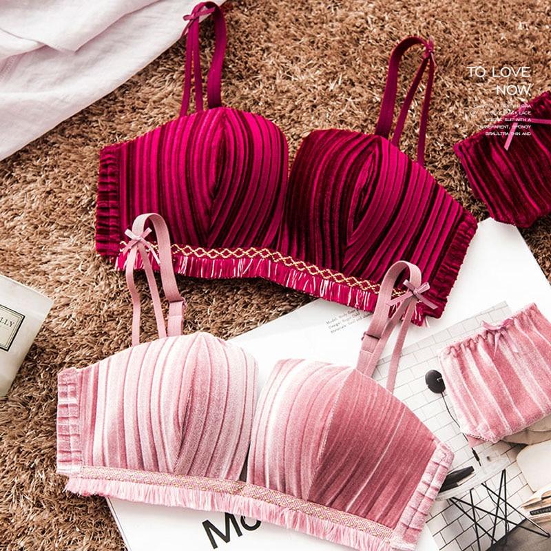 Wasteheart Winter Women Fashion Pink Sexy Lingerie Sets Padded Bras Wireless Bra Sets Cotton Panties Underwear A B Keep Warm in Bra Brief Sets from Underwear Sleepwears