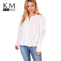 Kissmilk 2018 Fashion Women Shirt Solid White Ruffles Long Sleeve Female Blouse Casual Turn Down Collar