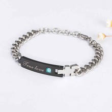 Couples Bracelets for Lovers True Love with AAA Zircon Titanium Best Gifts