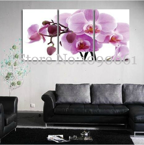 Modern Rose Purple Flower Wall Art Orchid Canvas Hand Painted 3 ...