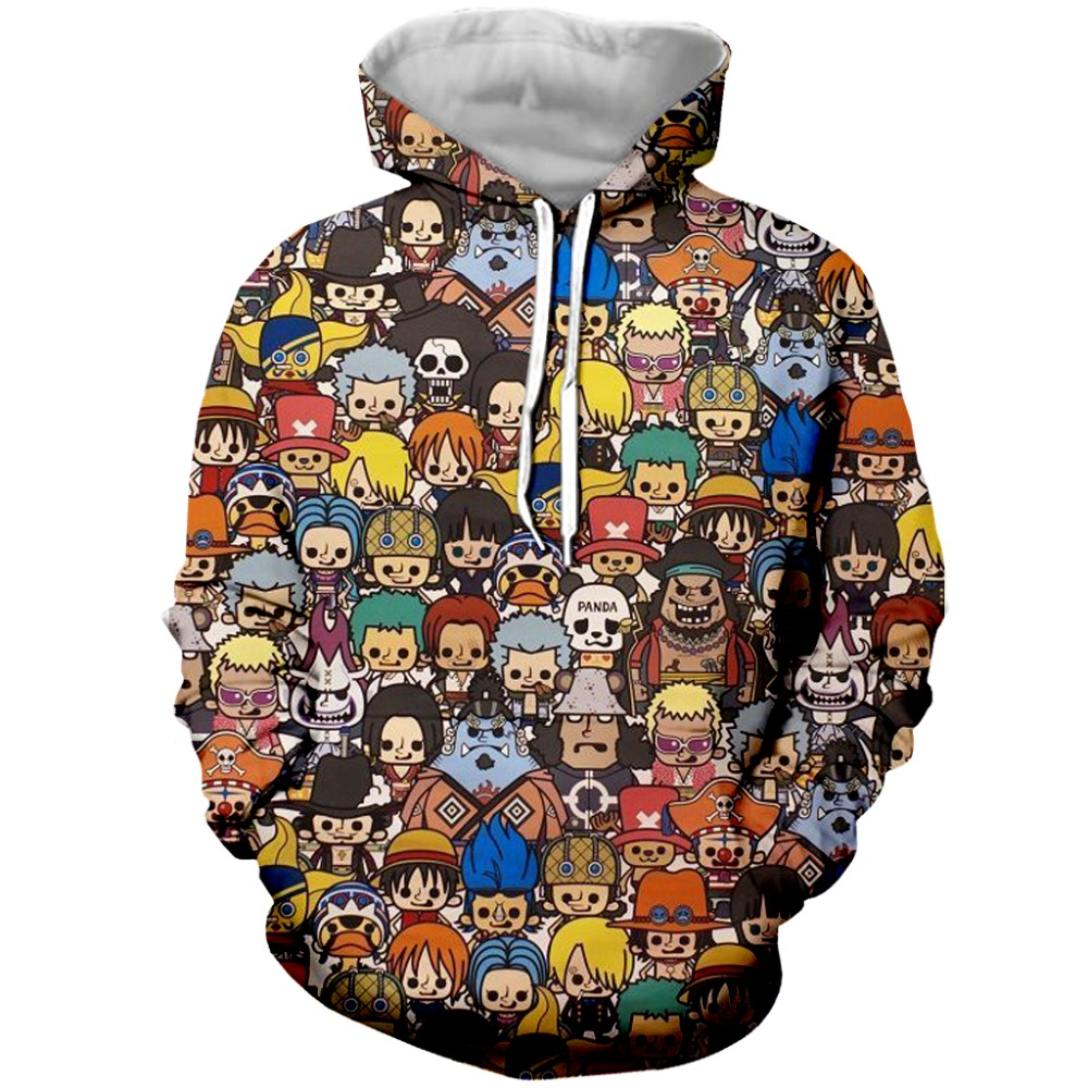 Newest 3D Hoodies Anime Sweatshirts One Piece Luffy 3d Print Men Clothes 2018 Pullovers Tops Streetwear Plus Size 7XL
