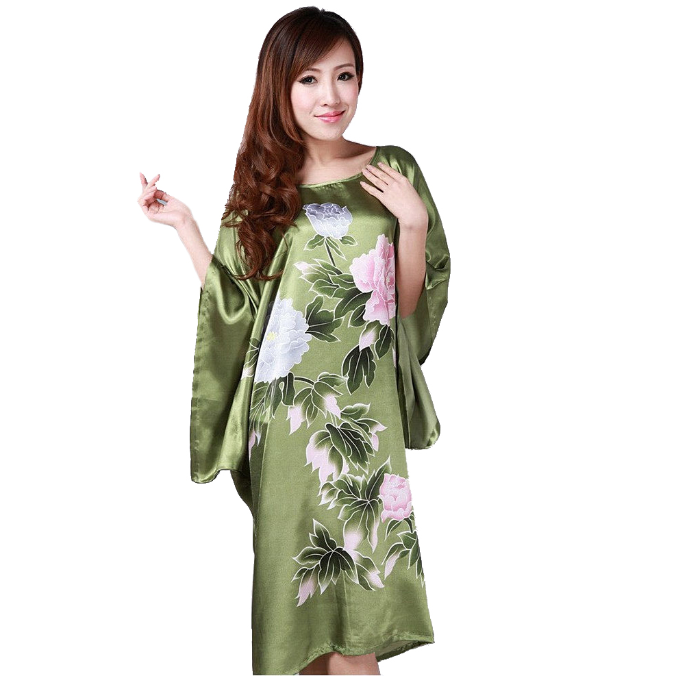 Novelty Green Chinese Women Silk Rayon Robe Loose Lounge Nightgown Kimono Bath Gown Sleepwear Mujer Pajama Plus Size S0109