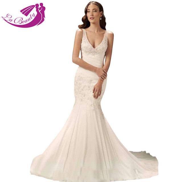 Custom Made Chiffon Bridal Gowns Dresses Deep V Neck Vestido De ...