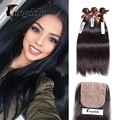 Silk Base Closure With Bundles Malaysian Straight Virgin Hair With Closure 8a Grade Virgin Unprocessed Human Hair With Closure
