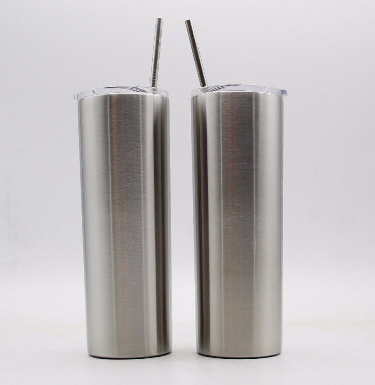 25pcs 20oz Skinny Tumbler Straws Straight cup 20 oz Stainless Steel double wall vacuum Insulation Beer