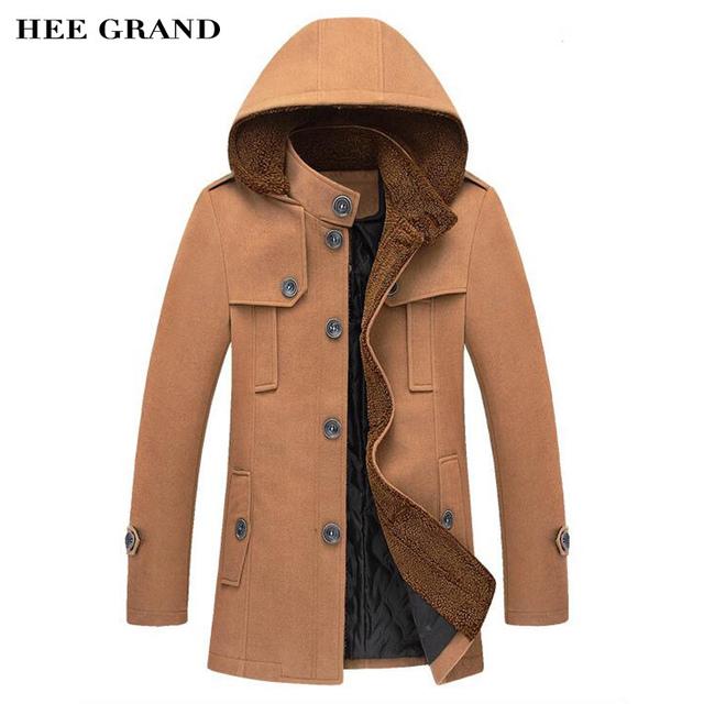 Hee grand cazadora de los hombres de la venta caliente otoño invierno moda con capucha desmontable sombrero trinchera abrigo chaqueta delgada ocasional mwf205