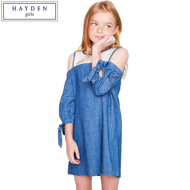 b5feac6d97ea HAYDEN Girls Cold Shoulder Chambray Dress Teenagers Cotton Denim Dress Kids  Loose Straight Fit Dress with Lace Age 7 to 14 Years