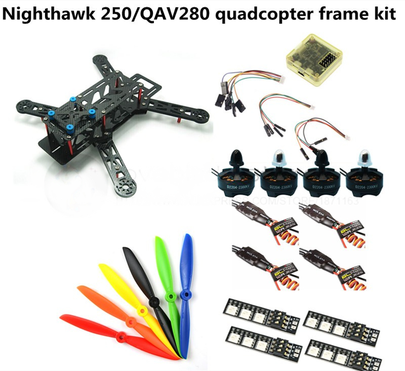 DIY FPV race mini drone Nighthawk 250 / QAV280 quadcopter frame kit 4-axis pure carbon rack + D2204 + BL12A ESC Special price carbon fiber mini qav250 c250 quadcopter emax1806motor andemax bl12a esc flight control prop fpv