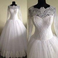 Scoop Neck Muslin Long Sleeve White Lace Real Model Wedding Dresses Bridal Gown Trouwjurken 2016 Pristian