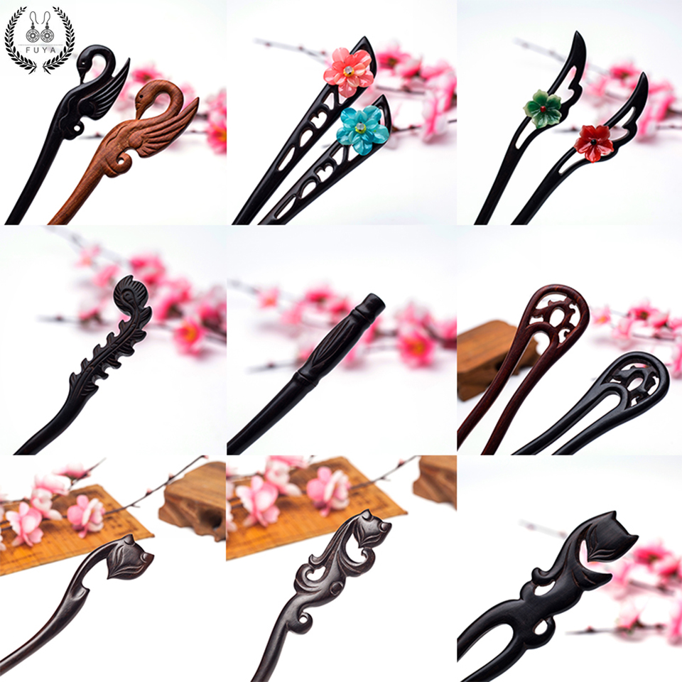Fox Carved Wood Chopstick Hairpin Hair Stick Pin Clip for Women Hair Head Jewelry 2018 Ornaments Decoration Wedding Accessories kawaii girl kids princess crown hair clip pin hairpin accessories for girls hair clips hairclip barrette tiara ornaments st 20
