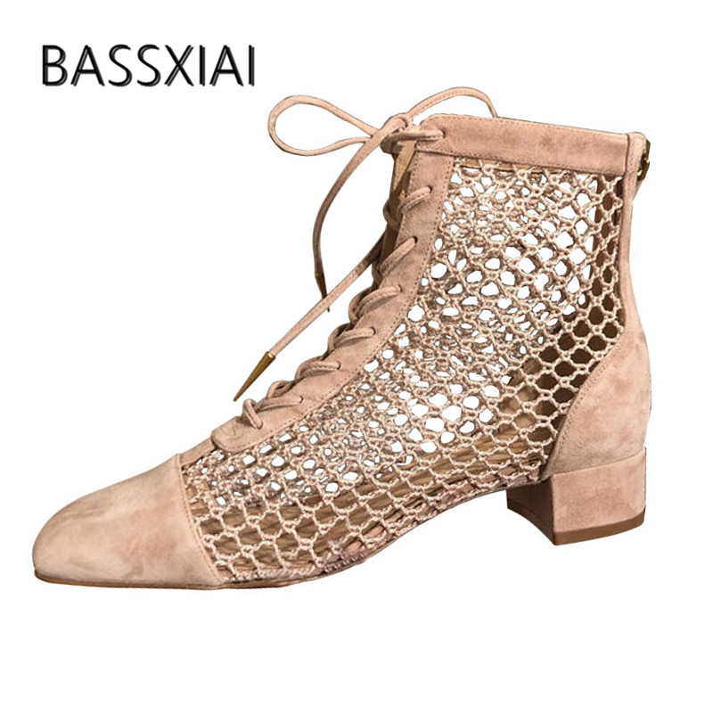 2019 Nude Mesh Ankle Boots Women Squre Toe Cut out Lace Up Low Heel Boots Woman