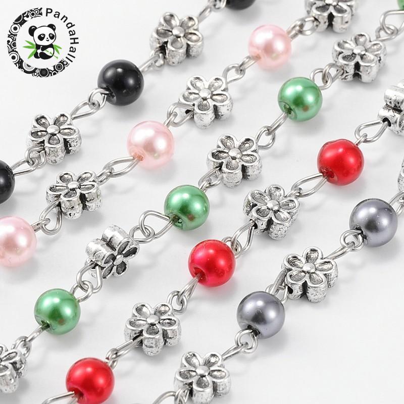 Φ_Φ7mm hecho a mano perlas de cristal perlas cadenas para collares ...