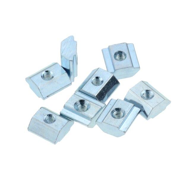 صواميل صمولة منزلقة مربعة الشكل مطلية بالزنك من الألومنيوم لمعيار الاتحاد الأوروبي 2020 فتحة من الألومنيوم لـ Kossel DIY التصنيع باستخدام الحاسب الآلي