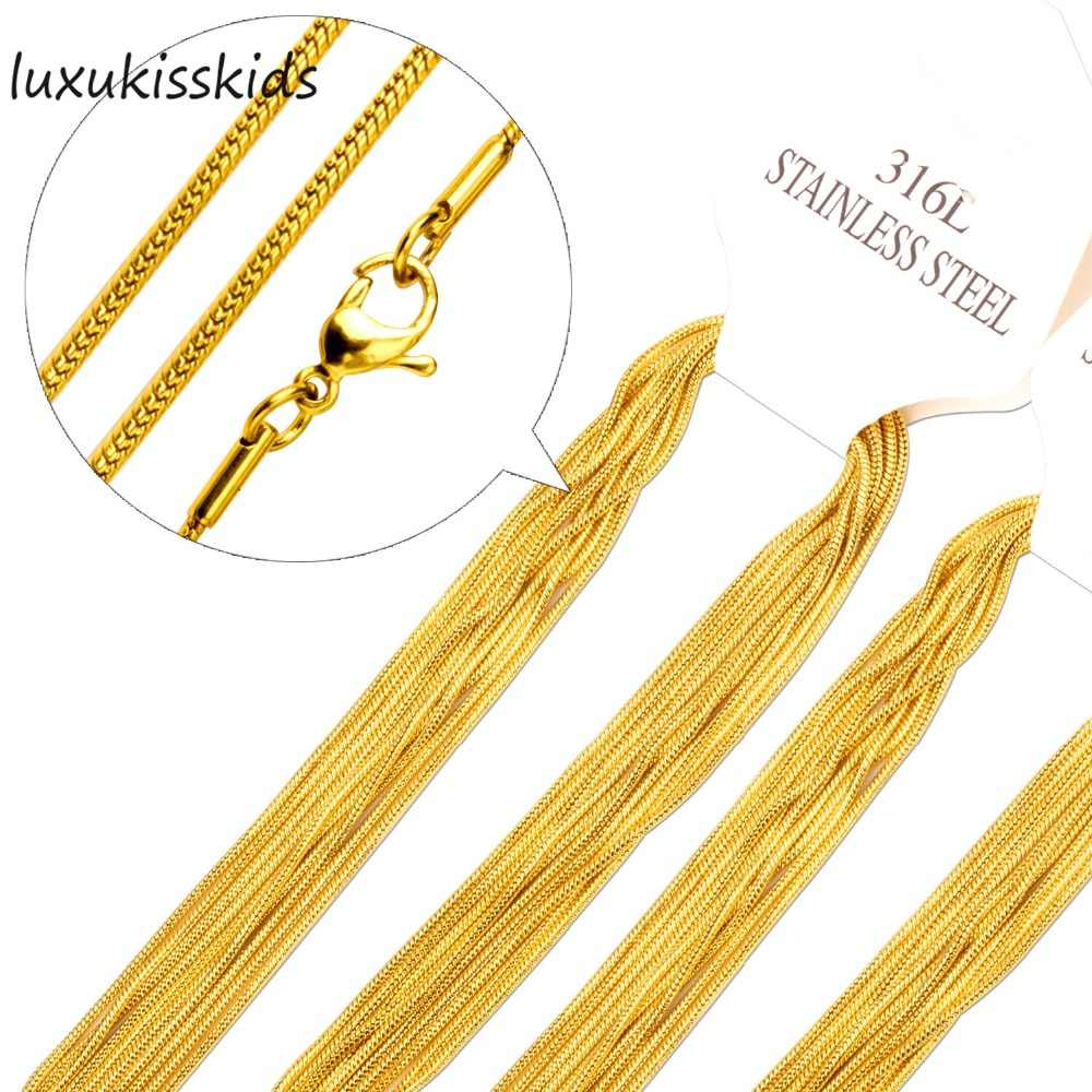 LUXUKISSKIDS Wholesale 10PCS Chains Necklaces Gold/Silver Stainless Steel Snake Chain For Pendant With Woman Jewelry Gift