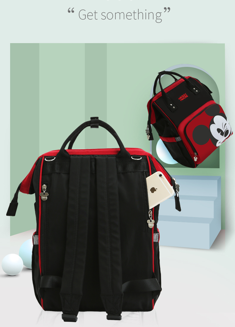 HTB15uCfX8Cw3KVjSZFlq6AJkFXap Disney Cute Minnie Mickey Red Diaper Bag Waterproof/Baby Care/Mummy Bag Maternity Backpack Large Nappy Bag Striped Bow Dot Smile