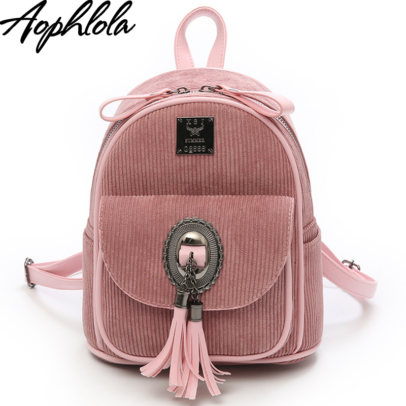 New Arrival Autumn and Winter Girl Corduroy Backpack Female College Backpack Shoulder Tassel Bag Student Backpack Women Backpack rdgguh backpack bag new of female backpack autumn and winter new students fashion casual korean backpack