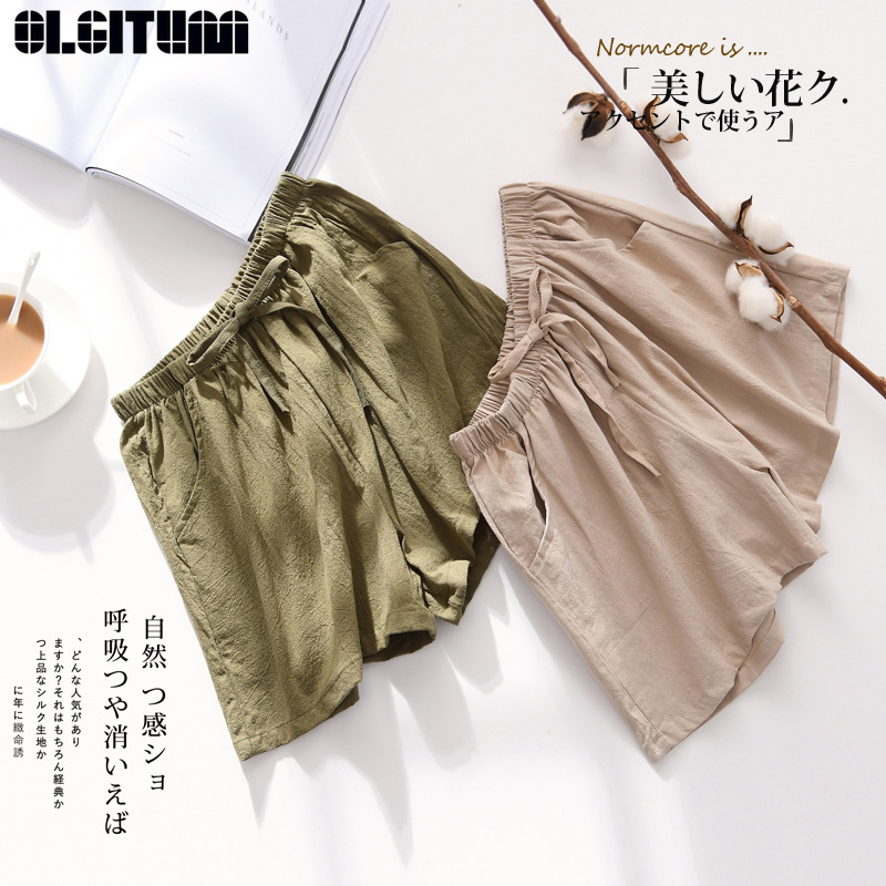 Cotton And Linen Shorts Female Summer 2019 New Loose Sports Casual High Waist Large Size Linen Wide Leg Port Wind Student PT361