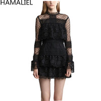 Runway Spring Women Dress 2017 Self Portrait Fashion Sexy Black Lace Patchwork Flare Sleeve Layers Cake