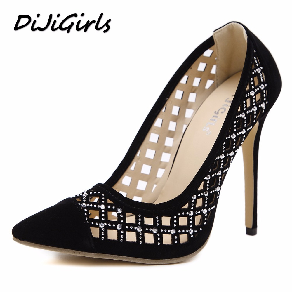 DijiGirls New summer women pumps fashion crystal cut-outs high heels shoes woman party wedding stilettos pointed toe size 35-40 new spring summer women pumps fashion pointed toe high heels shoes woman party wedding ladies shoes leopard pu leather