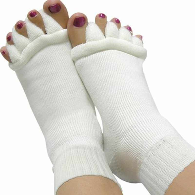 1Pair Five Toes Separators 양말 Hallux Valgus 교정기 Bunion 조절기 Footcare Pedicure Straightener 용 정형 양말