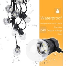 8M Fairy LED String Festoon Light G50 Lampor Garden Lights Utomhusfest Patio Christmas Hanging Decorative Output 24V KQ