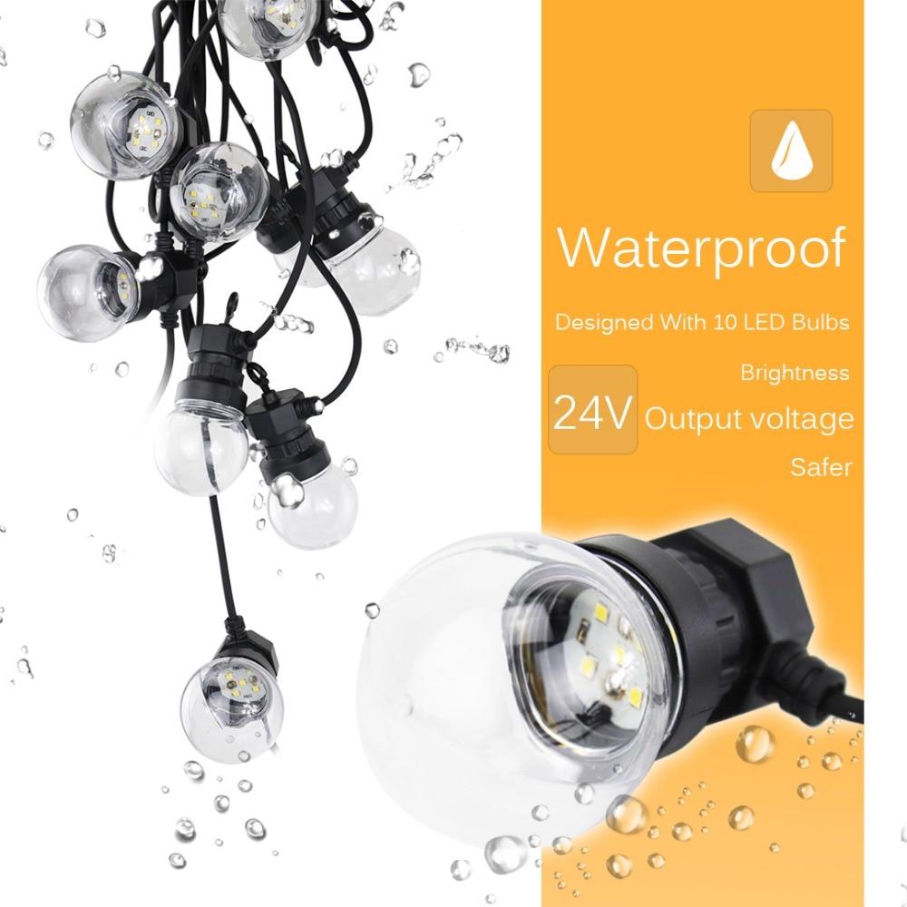 8M Fairy LED String Festoon Light G50 Bulbs Garden Lights Outdoor Party Patio Christmas Hanging Decorative Output 24V JQ
