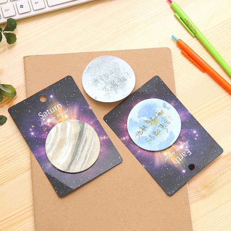 DL Stationery N Post Wholesale creative science fiction planet convenience sticker earth moon sky circular note book