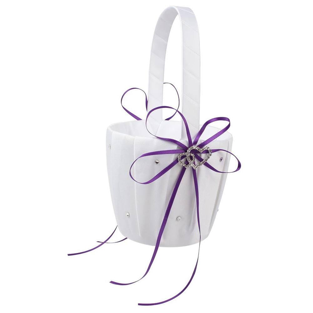 Best Double Heart Wedding Flower Girl Basket White Satin Rhinestone ...