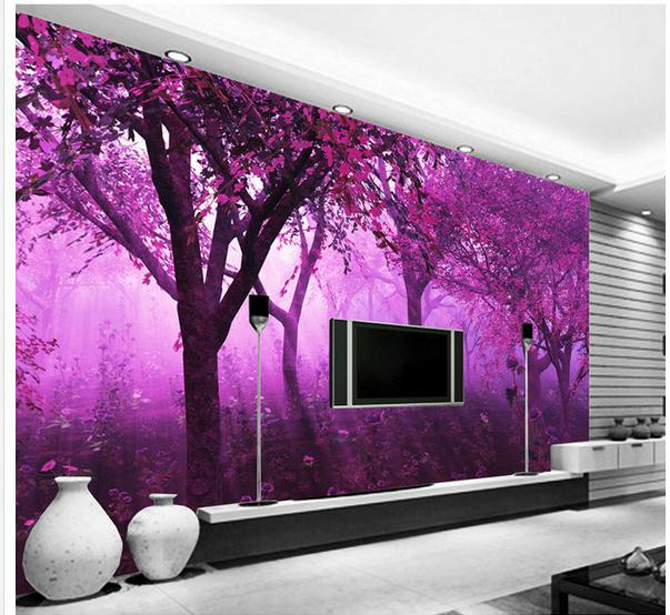 purple wallpaper for bedroom walls new large wallpaper custom wallpaper purple forest 19573