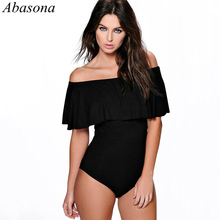 Abasona 2019 Summer Sexy Romper Off The Shoulder Ruffles Backless Bodysuit Tops Casual Beach Playsuit Women Overalls Body Femme