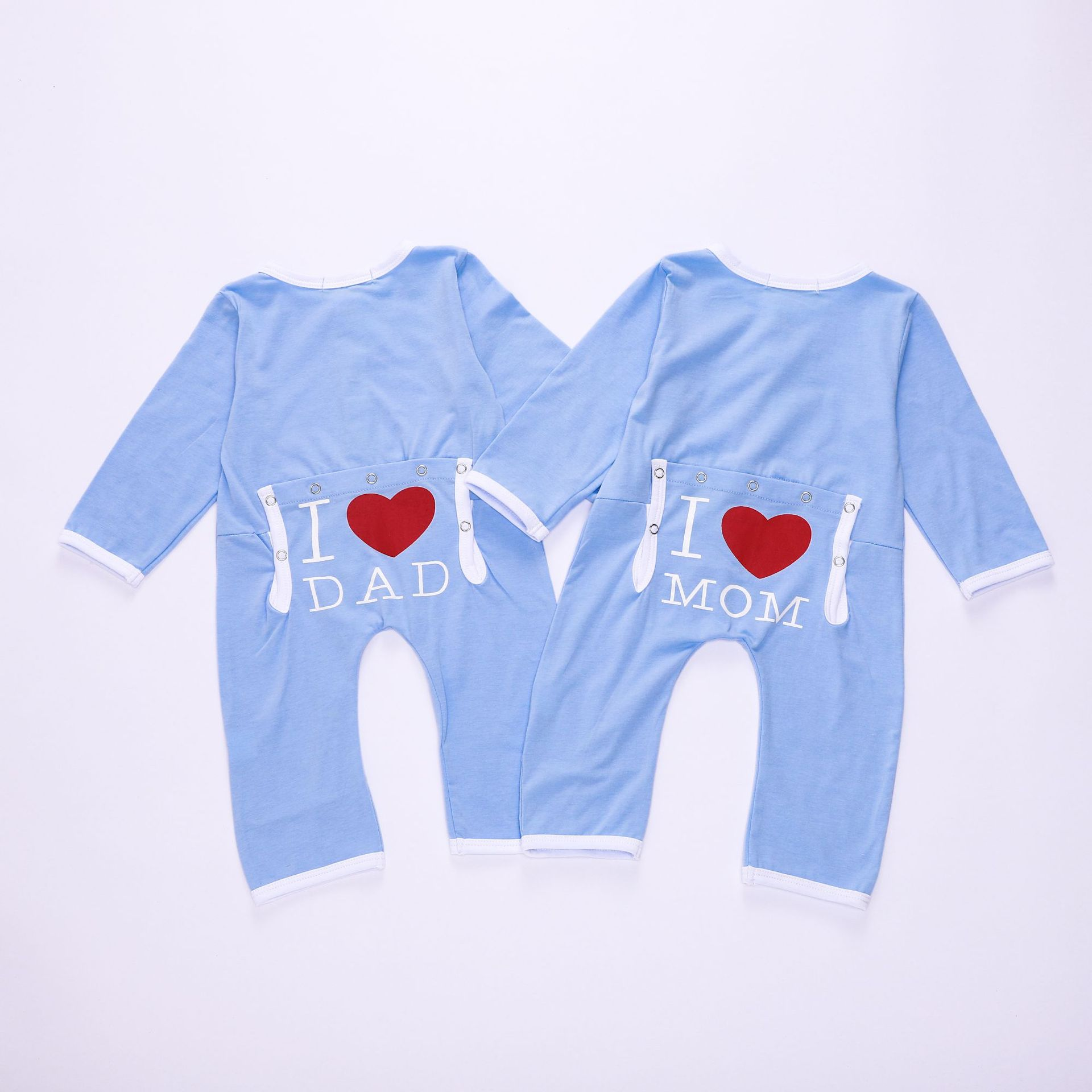 90d99ee942c Floral Pig Baby Rompers Long Sleeve Newborn Infant Baby Boy Girl Jumpsuit I Love  Mom Dad Print Outfits Sky Blue Baby Clothes
