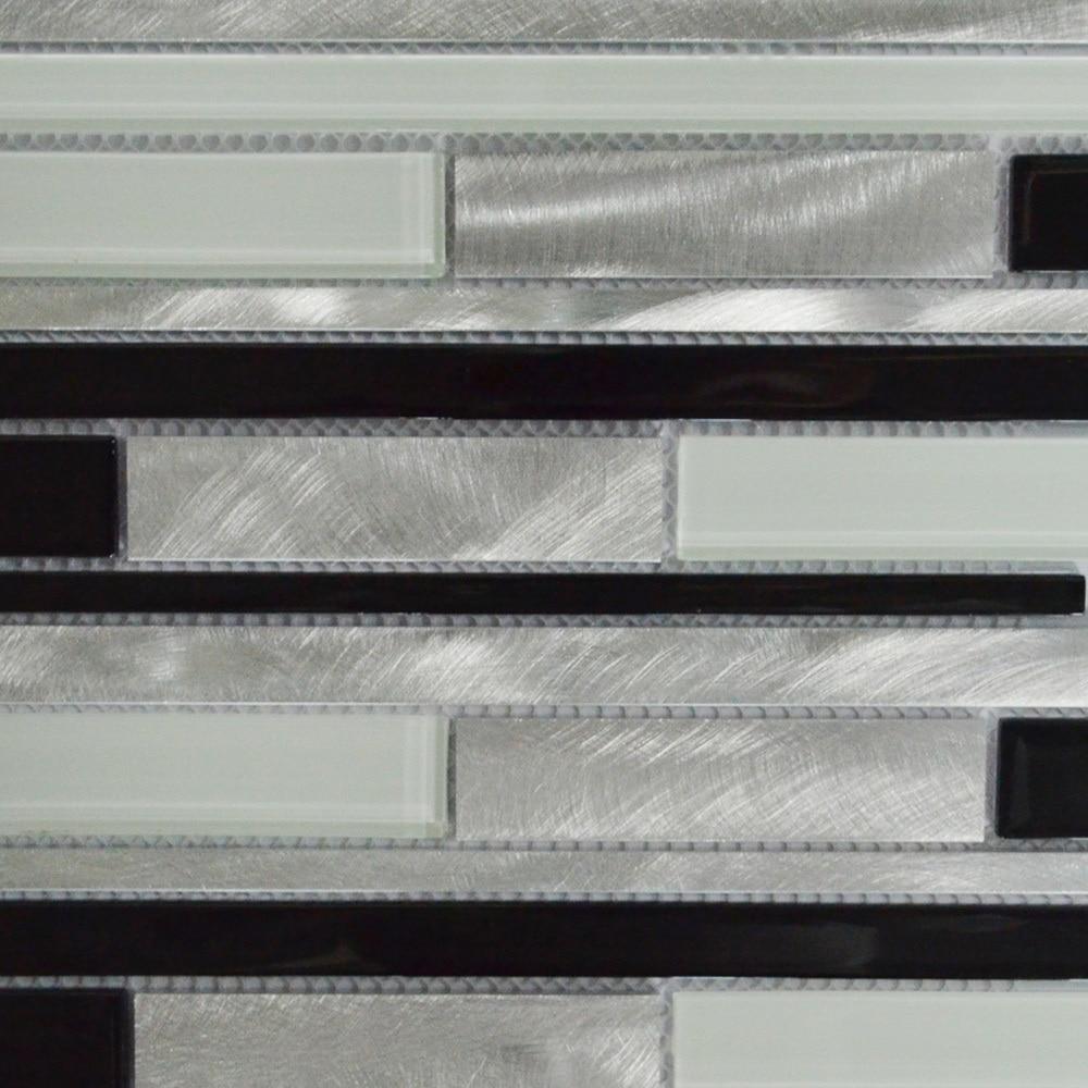 Black white and silver interlocking metal glass mosaic tile kitchen black white and silver interlocking metal glass mosaic tile kitchen backsplash mosaic bathroom wall tile mag0026 on aliexpress alibaba group dailygadgetfo Gallery