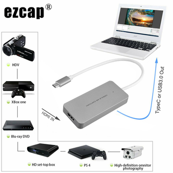 HDMI to Type C USB 3.0 HD Game Video Capture Card Box 1080P 60fps for MACBOOK Windows/Linux/Mac Win10 Live Streaming Broadcast