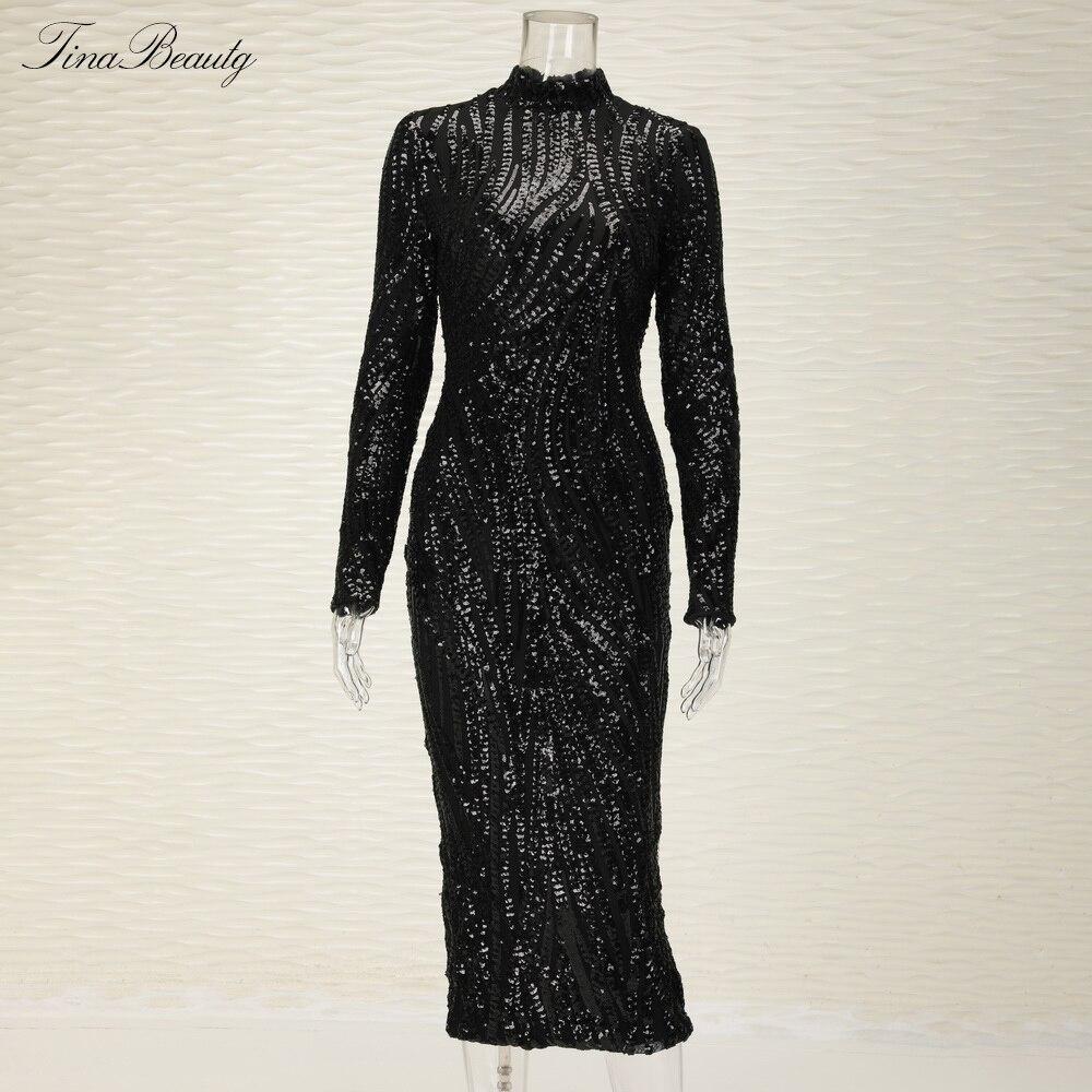Glittering Womens Turtleneck Long Sleeve Sequin Maxi Bodycon Dress Elegant Stretch Geometrical Foil Party Dress Vestidos