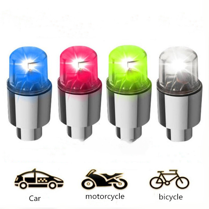 LED Tire Valve Stem Caps Motion Spoke Neon Light Auto Accessories Bike Bicycle Car Auto Waterproof Cycling Exercise Flashligh Wh