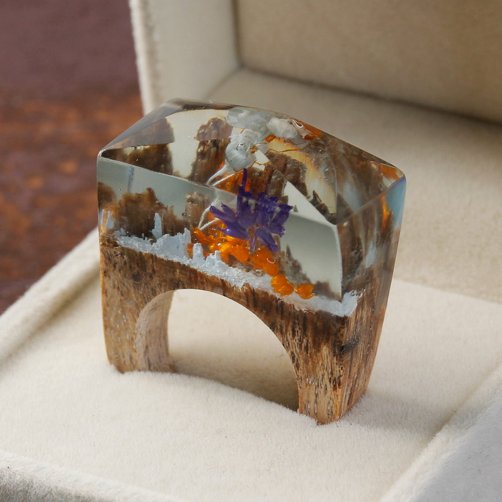 DoreenBeads Resin Secret Wood Ethereal Blossom Flower Wood Ring Multicolor Faceted Rectangle 18 7mm 6 8