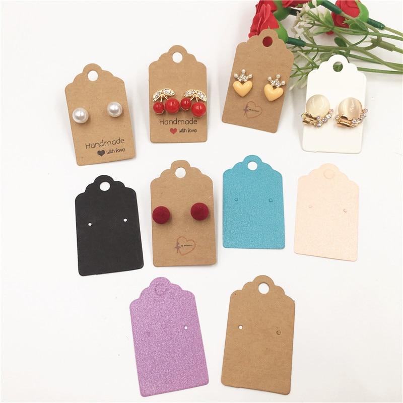 Colorful 5x3cm Mini Cute Kraft Paper Earrings Card For Stud Long Drop Earrings Jewelry Accessories Display Cardboard 50Pcs/Lot
